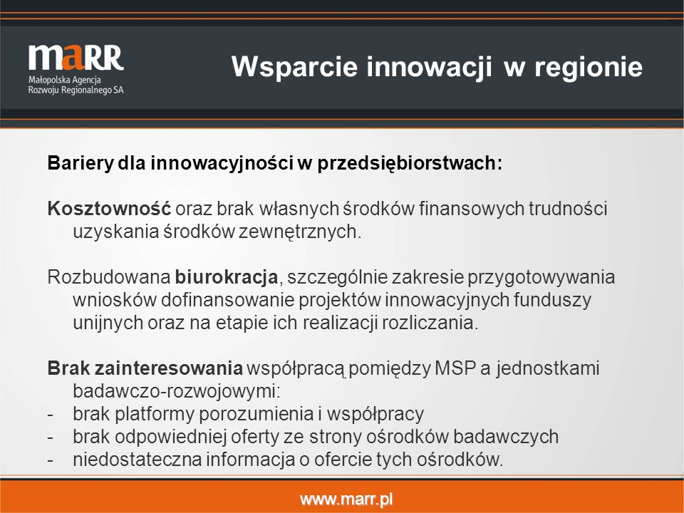 Wsparcie innowacji w regionie
