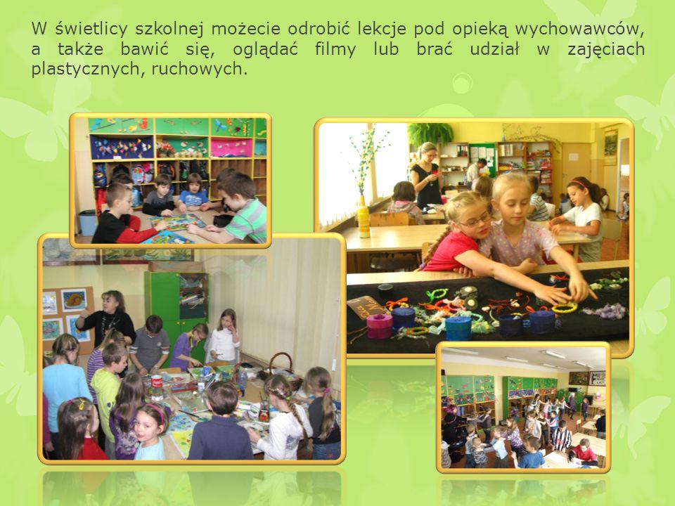 W świetlicy szkolnej możecie odrobić lekcje pod opieką wychowawców, a także bawić się, oglądać filmy lub brać udział w zajęciach plastycznych, ruchowych.