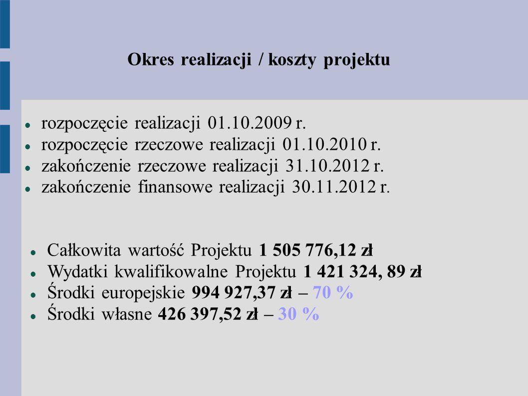 Okres realizacji / koszty projektu