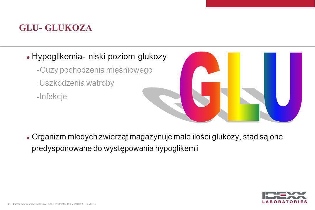 GLU GLU- GLUKOZA Hypoglikemia- niski poziom glukozy