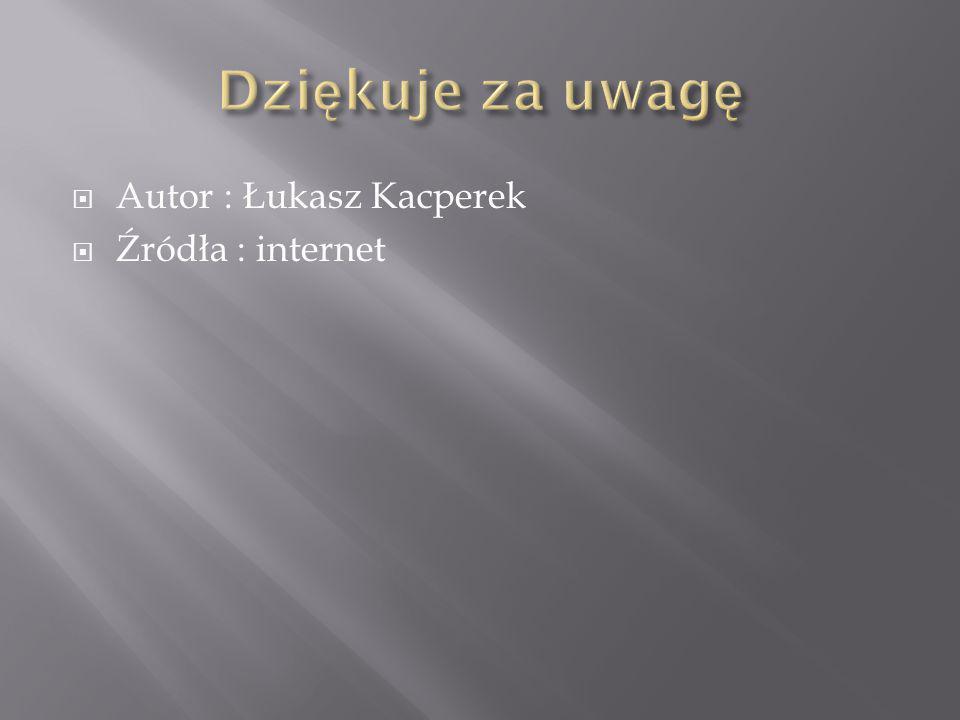 Dziękuje za uwagę Autor : Łukasz Kacperek Źródła : internet