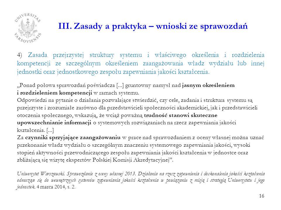 III. Zasady a praktyka – wnioski ze sprawozdań