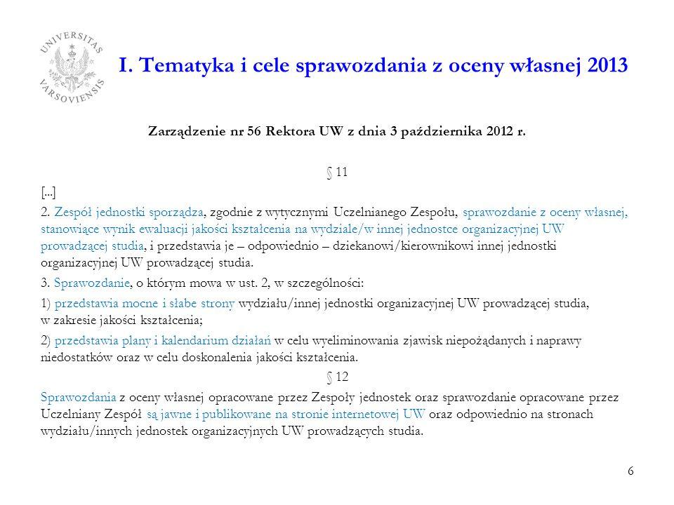 I. Tematyka i cele sprawozdania z oceny własnej 2013