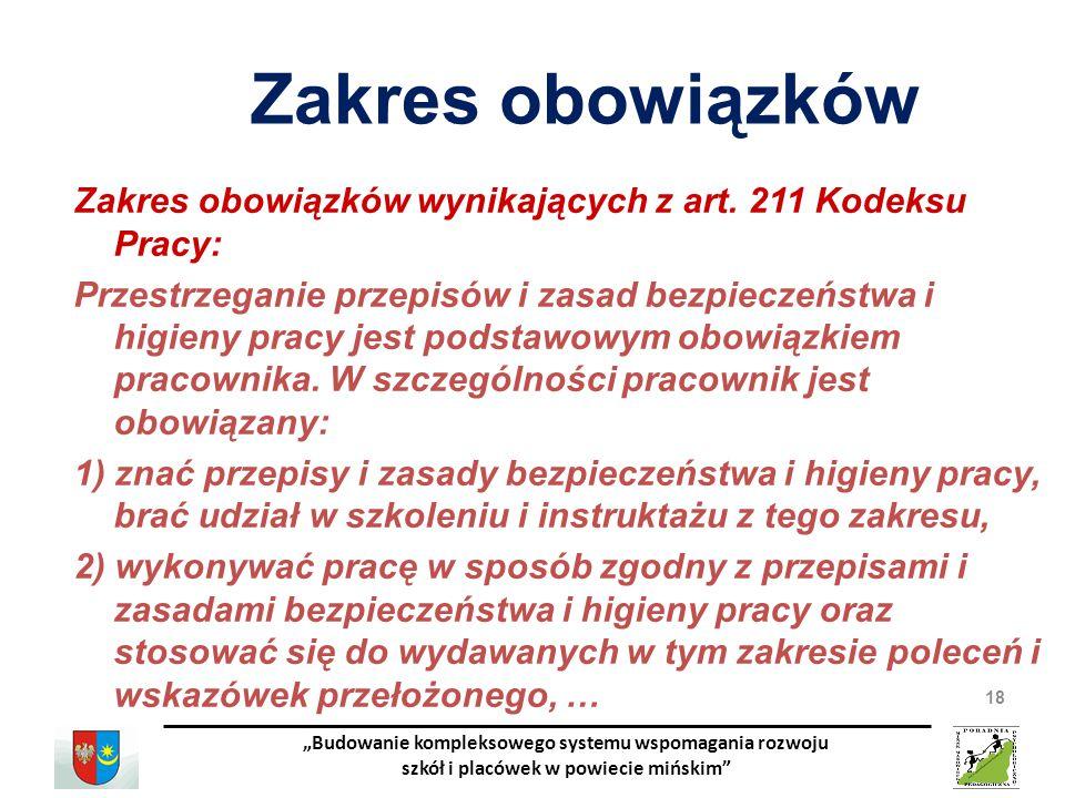 Zakres obowiązków Zakres obowiązków wynikających z art. 211 Kodeksu Pracy: