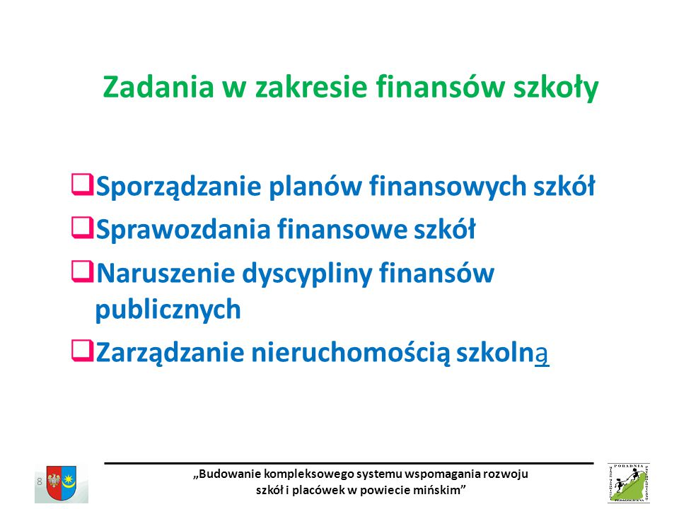 Zadania w zakresie finansów szkoły
