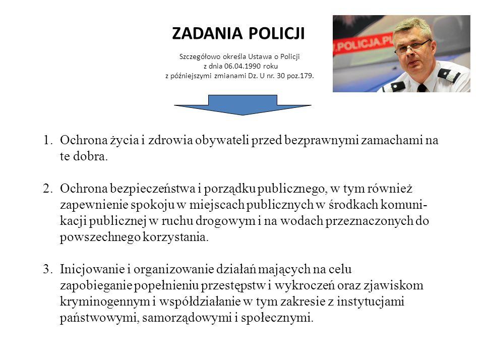 ZADANIA POLICJI Szczegółowo określa Ustawa o Policji z dnia 06.04.1990 roku z późniejszymi zmianami Dz. U nr. 30 poz.179.