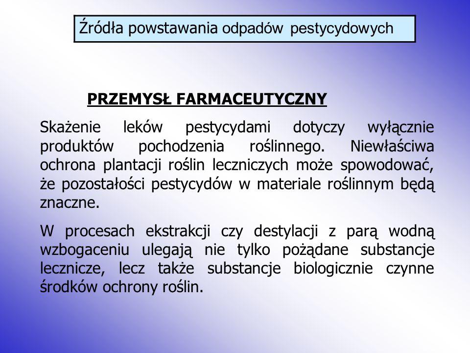 Źródła powstawania odpadów pestycydowych