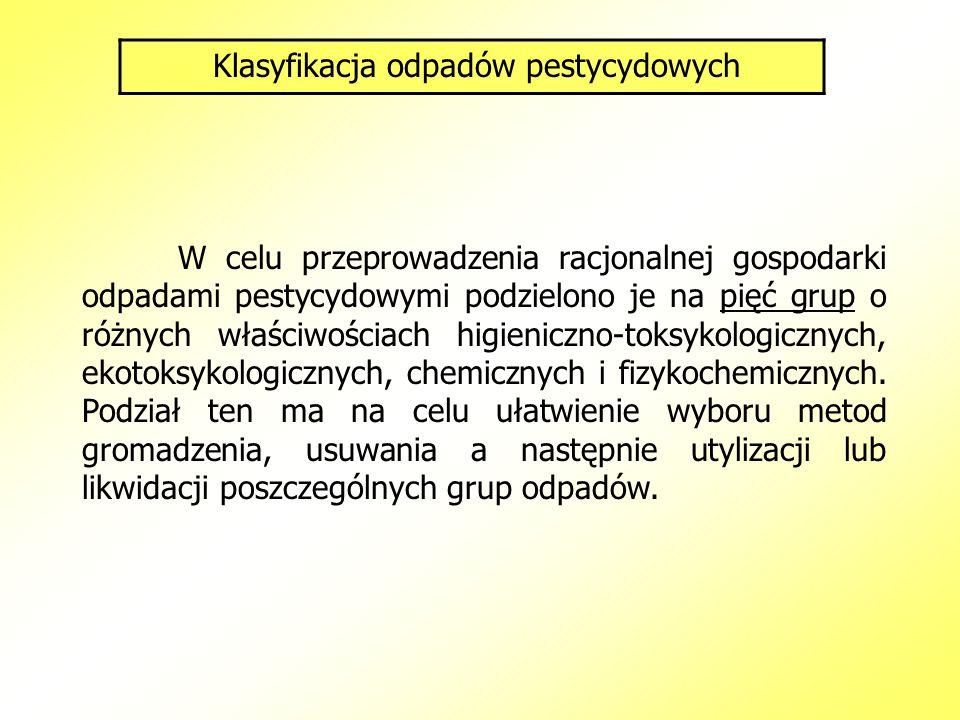 Klasyfikacja odpadów pestycydowych