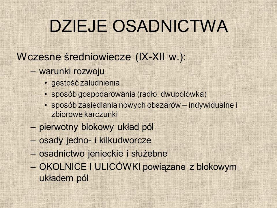 DZIEJE OSADNICTWA Wczesne średniowiecze (IX-XII w.): warunki rozwoju