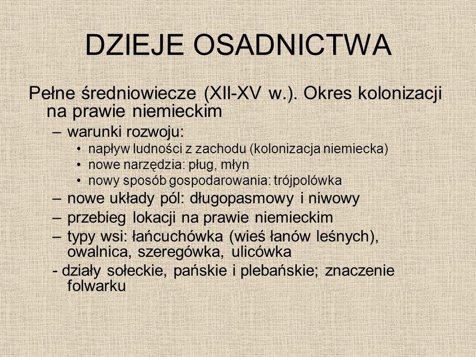 DZIEJE OSADNICTWA Pełne średniowiecze (XII-XV w.). Okres kolonizacji na prawie niemieckim. warunki rozwoju: