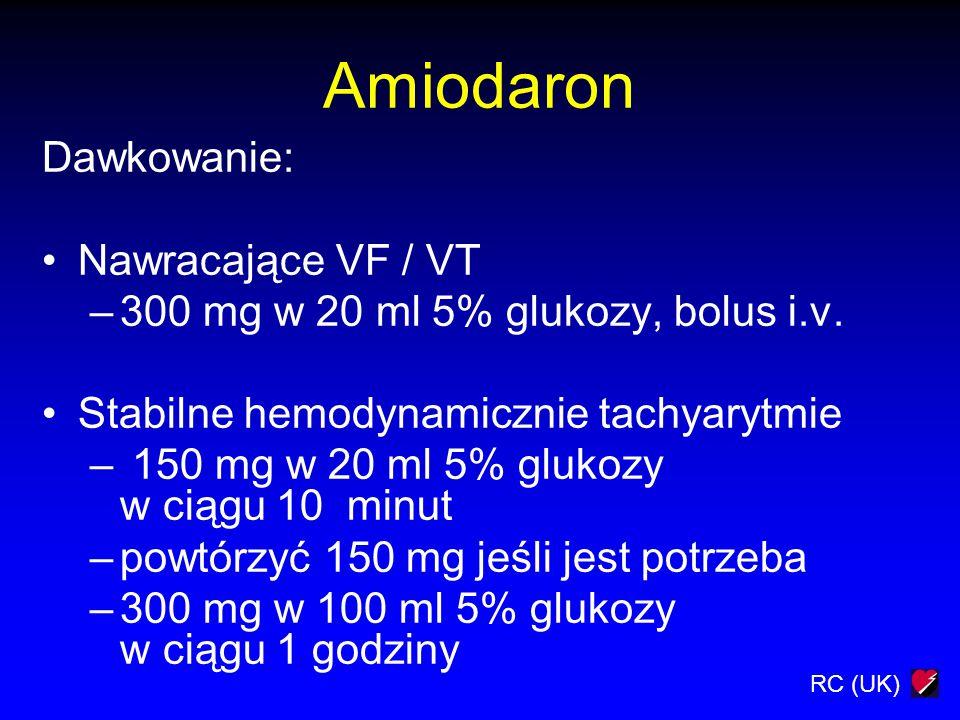 Amiodaron Dawkowanie: Nawracające VF / VT