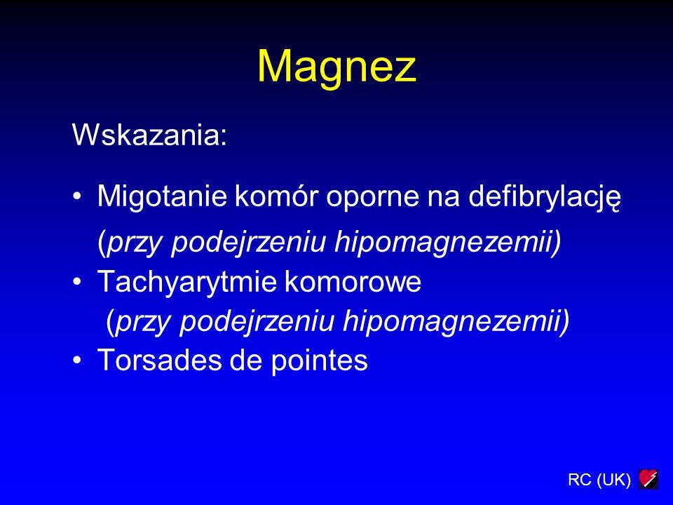 Magnez Wskazania: Migotanie komór oporne na defibrylację