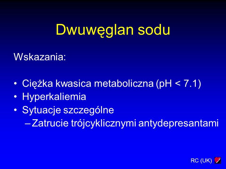 Dwuwęglan sodu Wskazania: Ciężka kwasica metaboliczna (pH < 7.1)