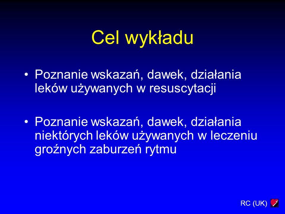 Cel wykładu Poznanie wskazań, dawek, działania leków używanych w resuscytacji.