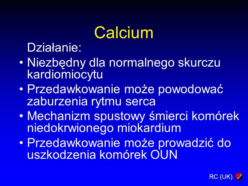Calcium Działanie: Niezbędny dla normalnego skurczu kardiomiocytu