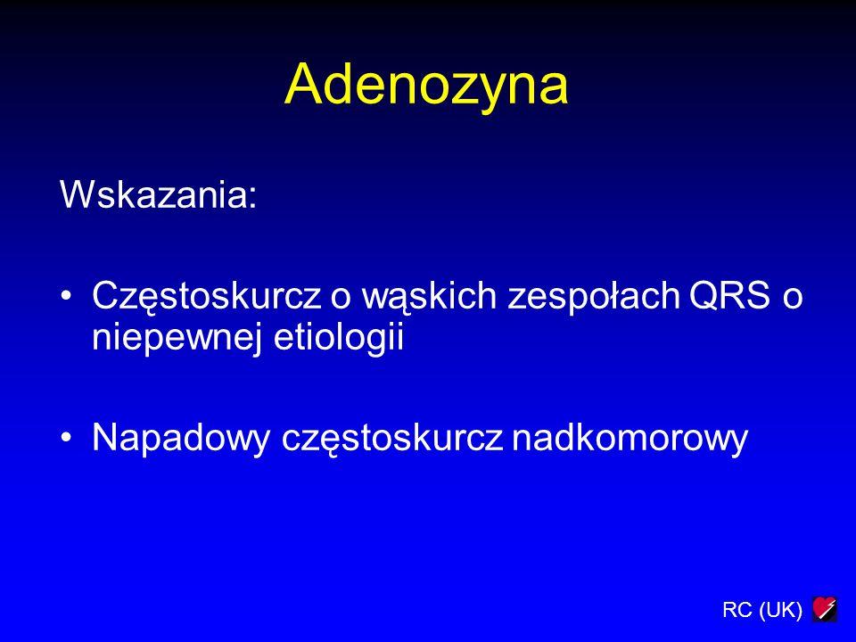 Adenozyna Wskazania: Częstoskurcz o wąskich zespołach QRS o niepewnej etiologii.