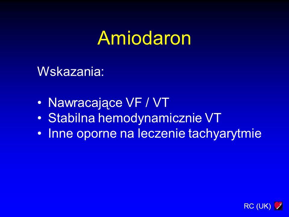 Amiodaron Wskazania: Nawracające VF / VT Stabilna hemodynamicznie VT