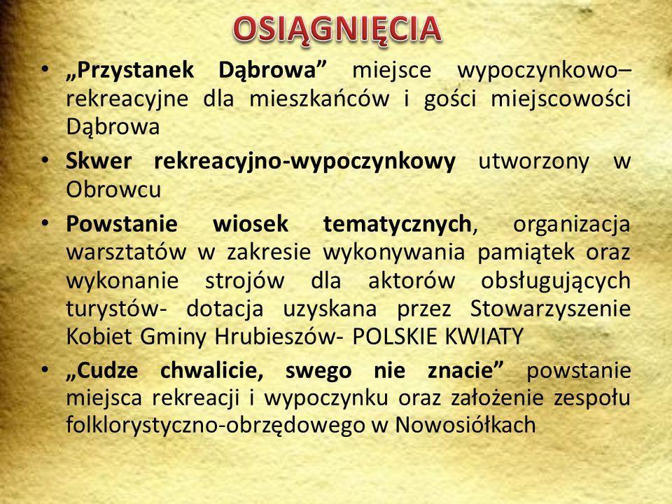 """OSIĄGNIĘCIA """"Przystanek Dąbrowa miejsce wypoczynkowo–rekreacyjne dla mieszkańców i gości miejscowości Dąbrowa."""