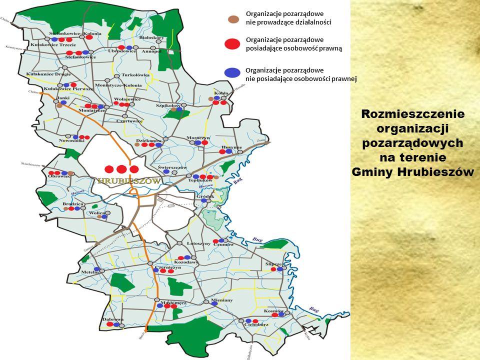 Rozmieszczenie organizacji pozarządowych na terenie Gminy Hrubieszów