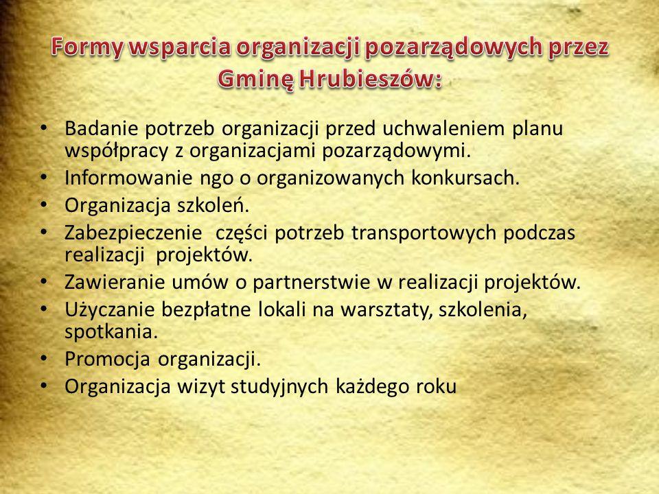 Formy wsparcia organizacji pozarządowych przez Gminę Hrubieszów: