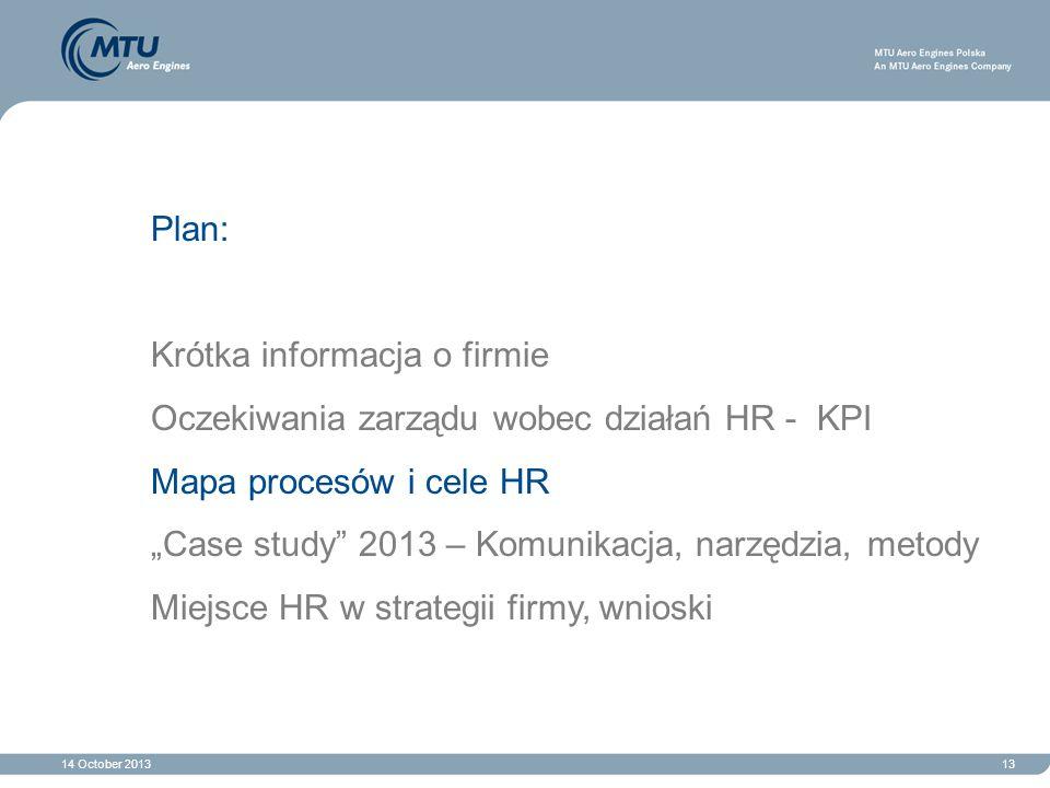 Plan: Krótka informacja o firmie. Oczekiwania zarządu wobec działań HR - KPI. Mapa procesów i cele HR.