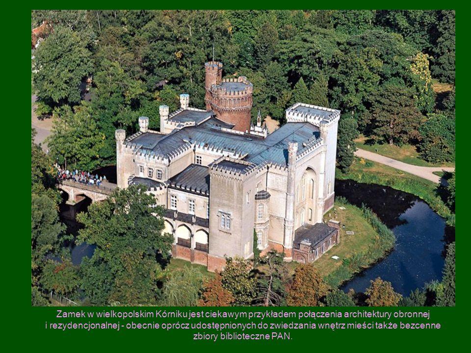 Zamek w wielkopolskim Kórniku jest ciekawym przykładem połączenia architektury obronnej i rezydencjonalnej - obecnie oprócz udostępnionych do zwiedzania wnętrz mieści także bezcenne zbiory biblioteczne PAN.