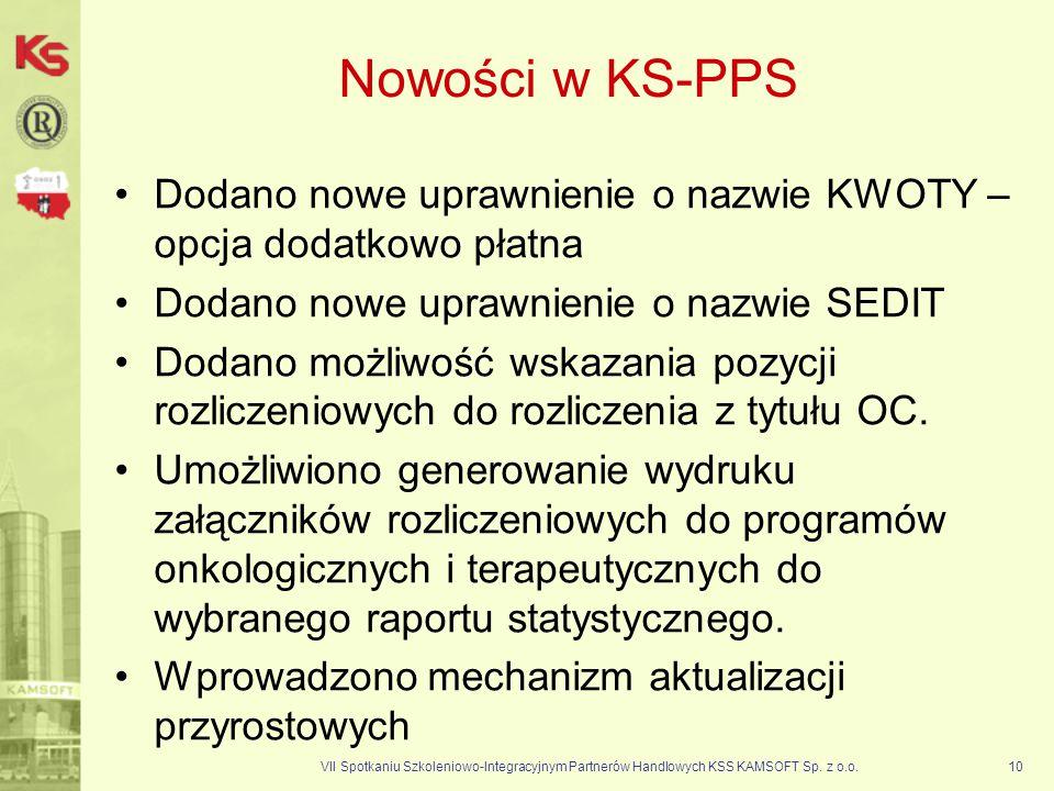 Nowości w KS-PPS Dodano nowe uprawnienie o nazwie KWOTY – opcja dodatkowo płatna. Dodano nowe uprawnienie o nazwie SEDIT.