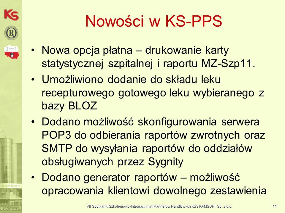 Nowości w KS-PPS Nowa opcja płatna – drukowanie karty statystycznej szpitalnej i raportu MZ-Szp11.