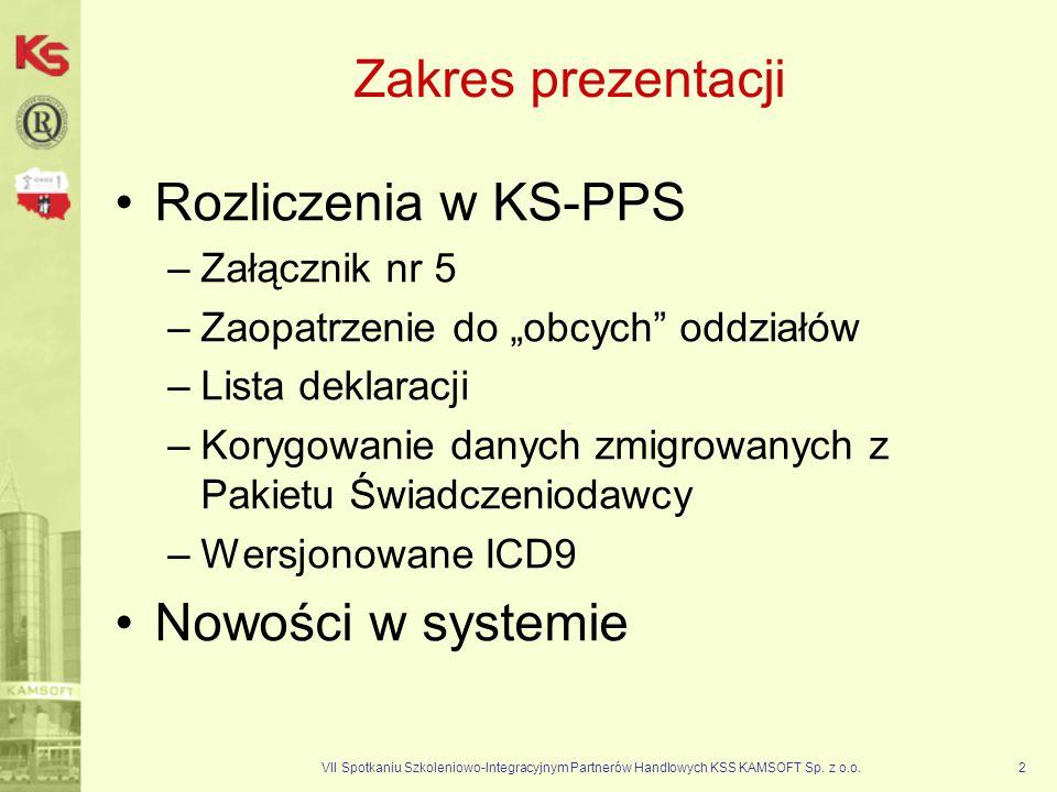 Zakres prezentacji Rozliczenia w KS-PPS Nowości w systemie