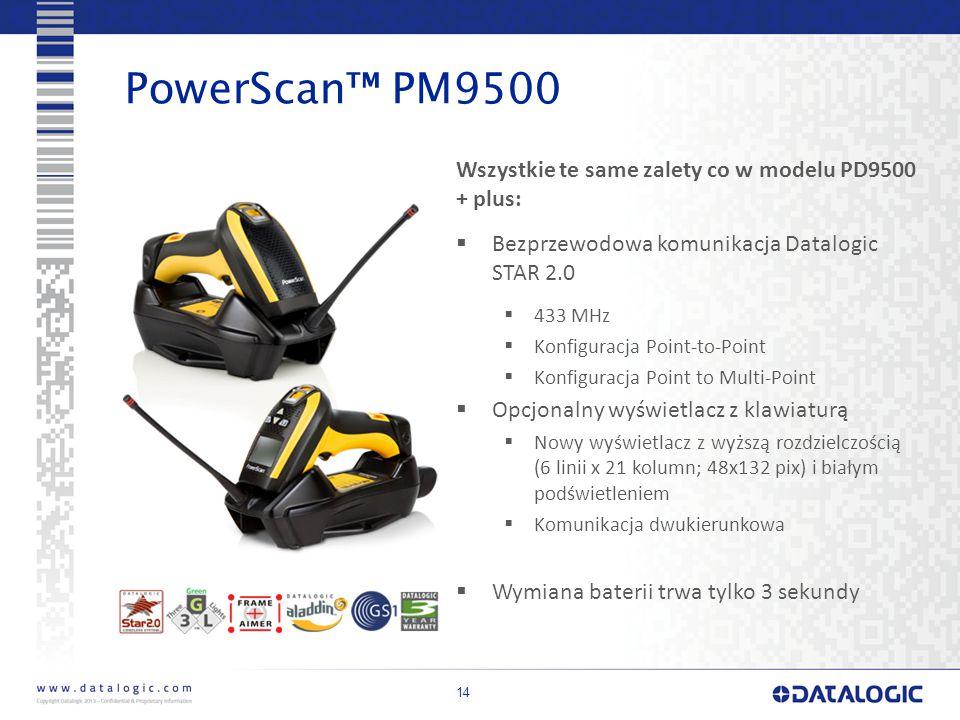 PowerScan™ PM9500 Wszystkie te same zalety co w modelu PD9500 + plus:
