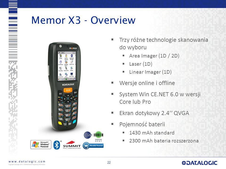 Memor X3 - Overview Trzy różne technologie skanowania do wyboru