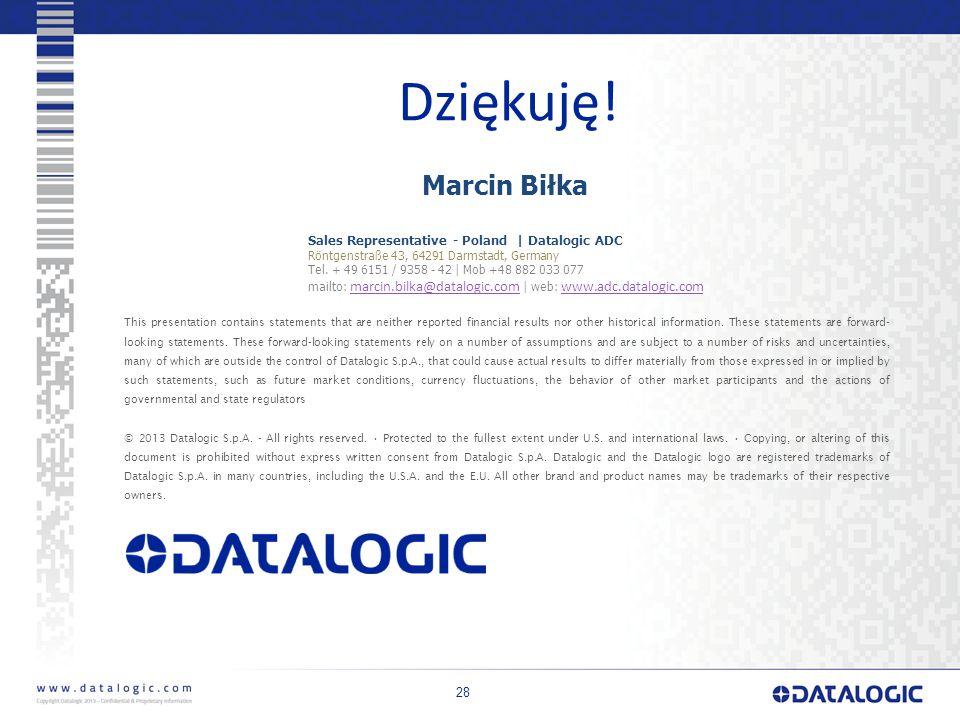Dziękuję! Marcin Biłka Datalogic ADC