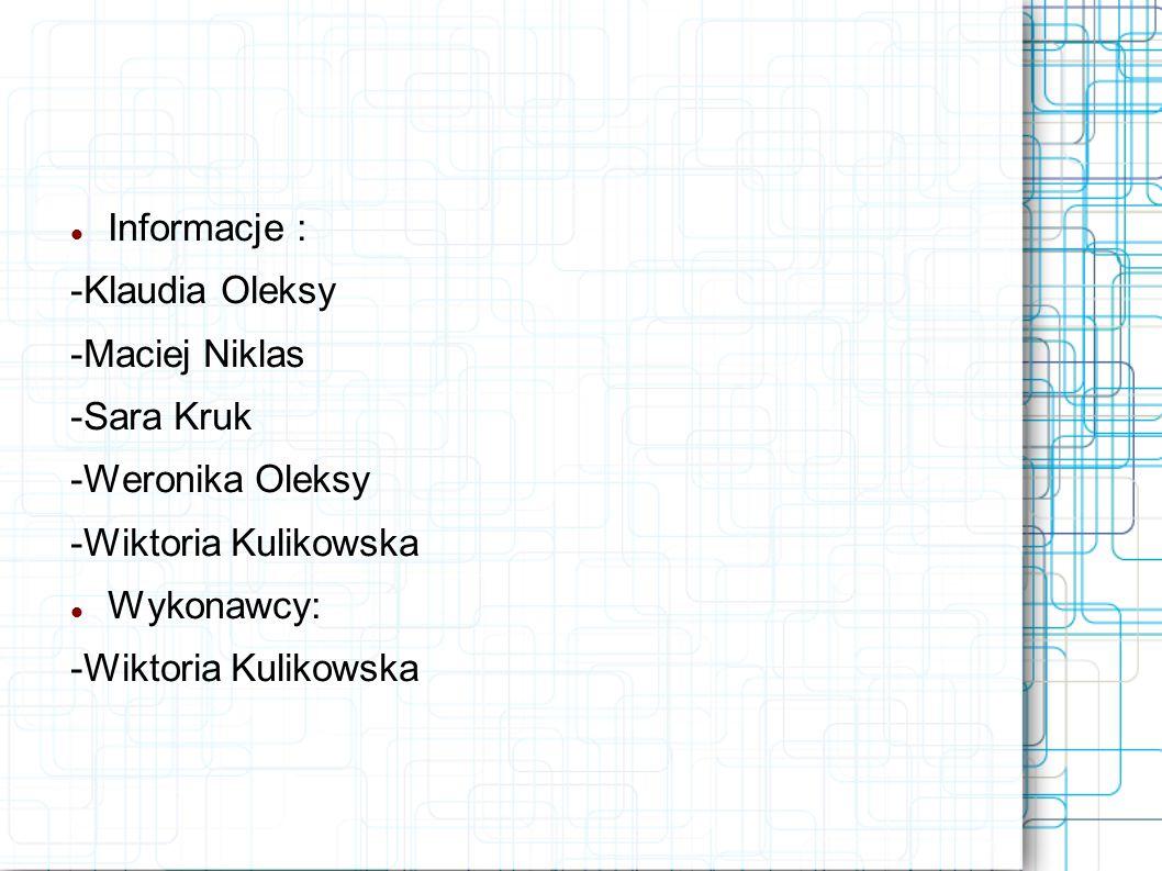 Informacje : -Klaudia Oleksy. -Maciej Niklas. -Sara Kruk. -Weronika Oleksy. -Wiktoria Kulikowska.