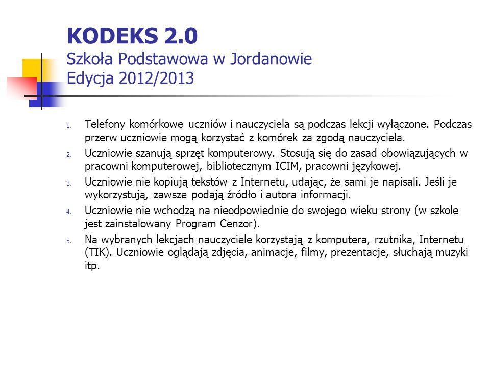KODEKS 2.0 Szkoła Podstawowa w Jordanowie Edycja 2012/2013