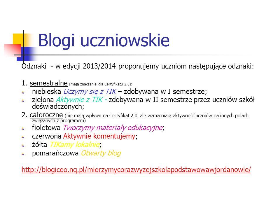 Blogi uczniowskie Odznaki - w edycji 2013/2014 proponujemy uczniom następujące odznaki: 1. semestralne (mają znaczenie dla Certyfikatu 2.0):