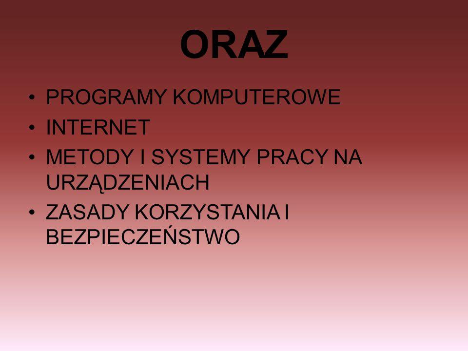 ORAZ PROGRAMY KOMPUTEROWE INTERNET