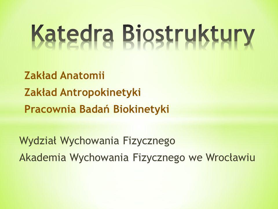Katedra Biostruktury Zakład Anatomii Zakład Antropokinetyki