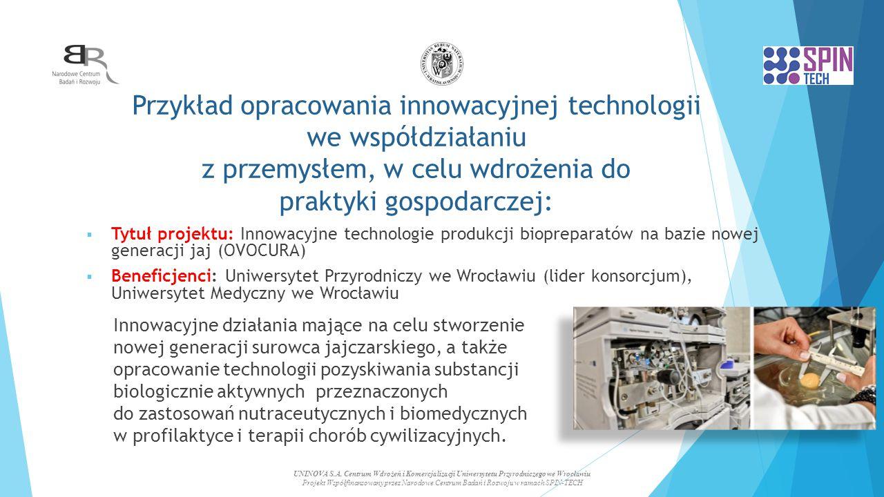 Przykład opracowania innowacyjnej technologii we współdziałaniu z przemysłem, w celu wdrożenia do praktyki gospodarczej: