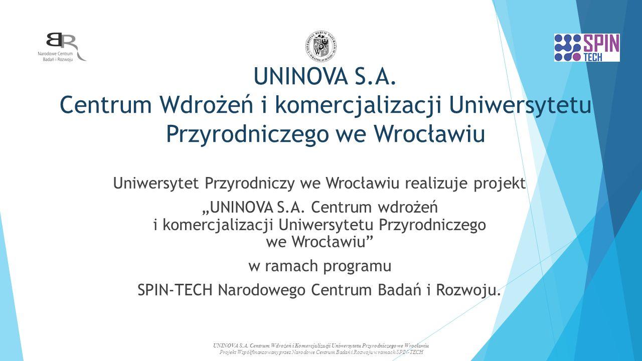 UNINOVA S.A. Centrum Wdrożeń i komercjalizacji Uniwersytetu Przyrodniczego we Wrocławiu