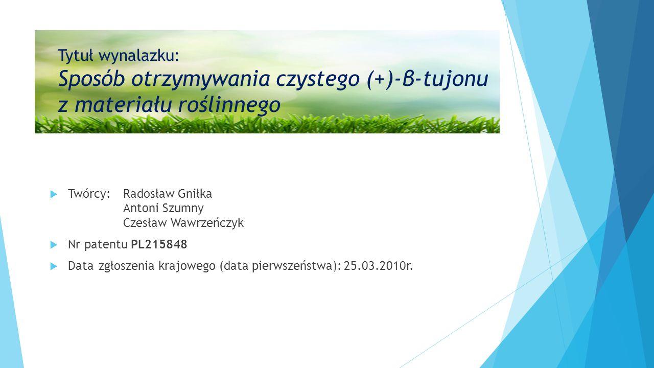 Tytuł wynalazku: Sposób otrzymywania czystego (+)-β-tujonu z materiału roślinnego