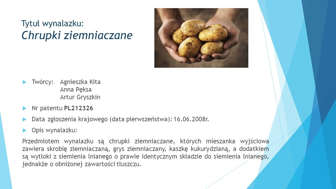 Tytuł wynalazku: Chrupki ziemniaczane