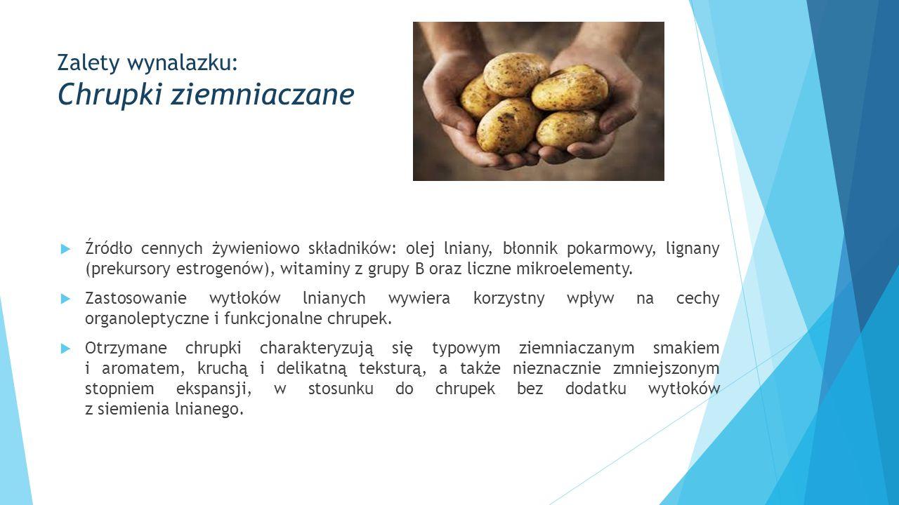 Zalety wynalazku: Chrupki ziemniaczane