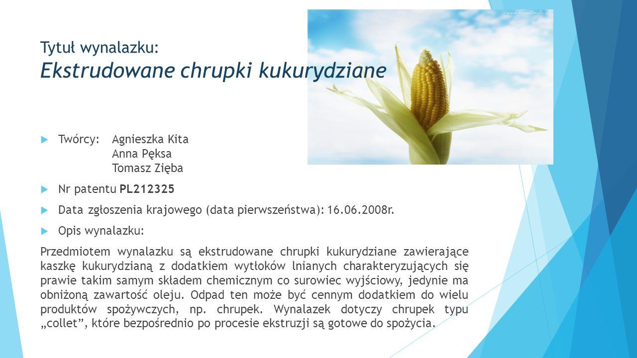 Tytuł wynalazku: Ekstrudowane chrupki kukurydziane