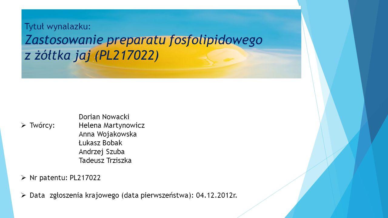 Tytuł wynalazku: Zastosowanie preparatu fosfolipidowego z żółtka jaj (PL217022)