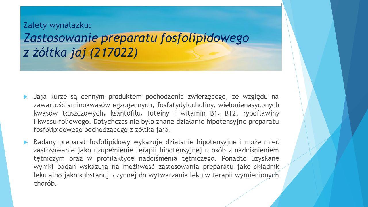 Zalety wynalazku: Zastosowanie preparatu fosfolipidowego z żółtka jaj (217022)