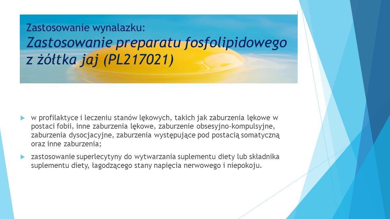 Zastosowanie wynalazku: Zastosowanie preparatu fosfolipidowego z żółtka jaj (PL217021)