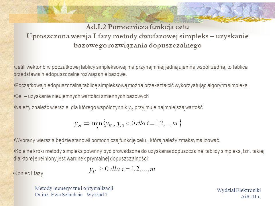 Ad.I.2 Pomocnicza funkcja celu Uproszczona wersja I fazy metody dwufazowej simpleks – uzyskanie bazowego rozwiązania dopuszczalnego