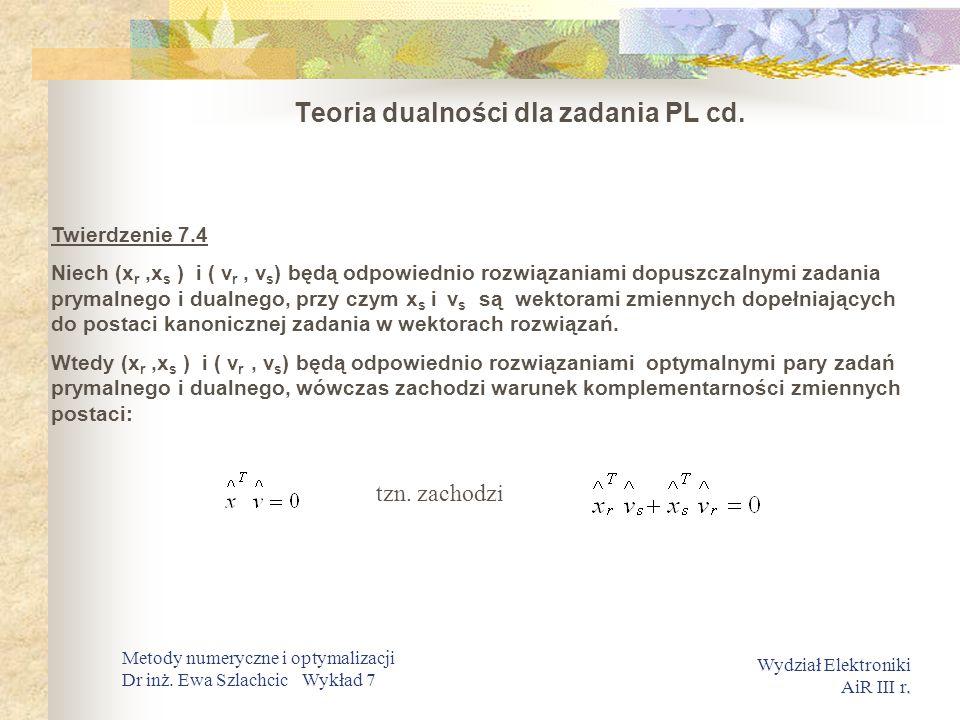 Teoria dualności dla zadania PL cd.