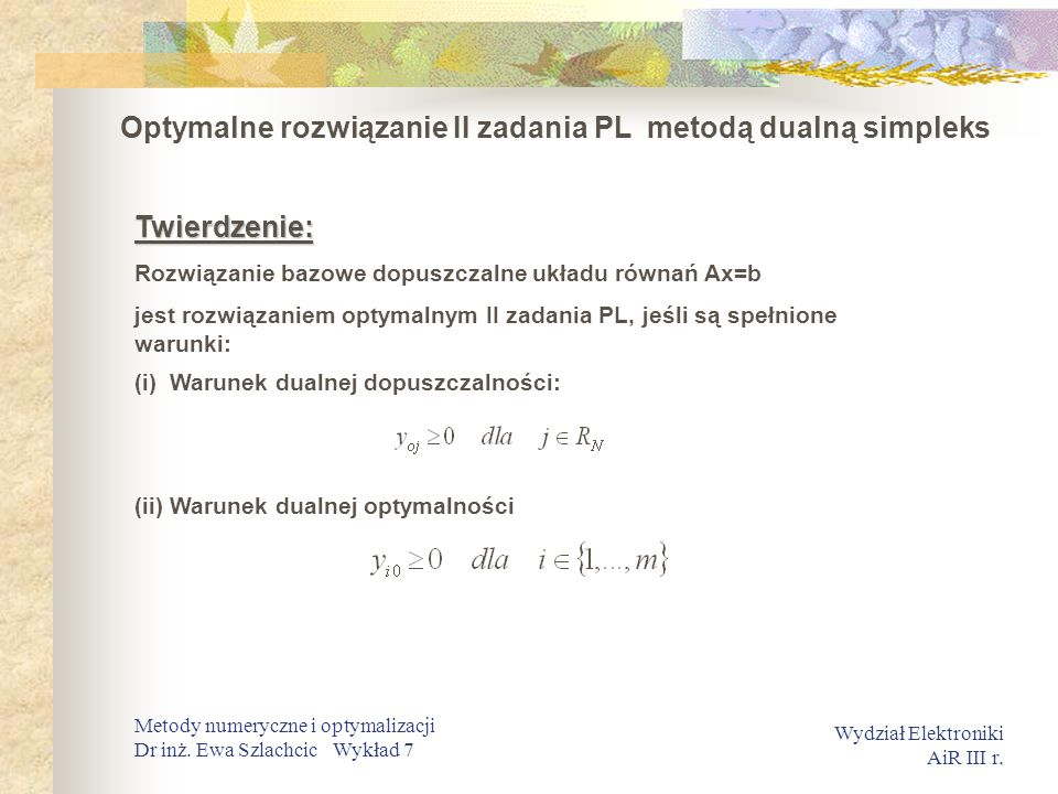 Optymalne rozwiązanie II zadania PL metodą dualną simpleks