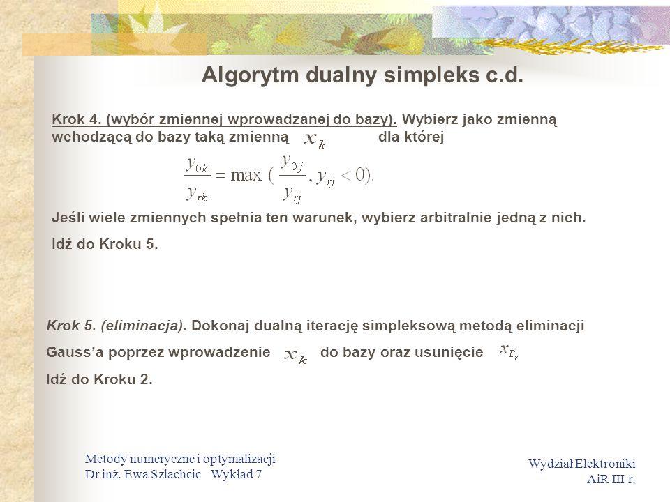 Algorytm dualny simpleks c.d.